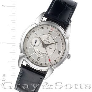 Concord Impresario in stainless steel on leather strap. Auto w/ subseconds, date and dual time.