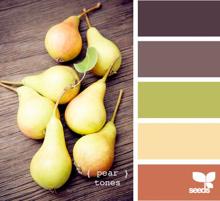 pear tones... love this color combo! I would totally do this for a wedding or for a pallet in a room! So pretty! : Colors Combos, Color Palettes, Kitchens Colors, Design Seeds, Bedrooms Colors, Colors Palettes, Master Bedrooms, Colors Schemes, Pears Tones