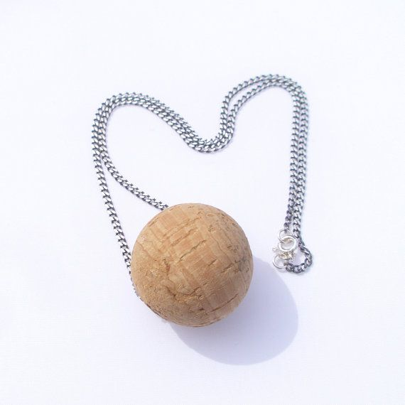 Silver chain with cork bead.