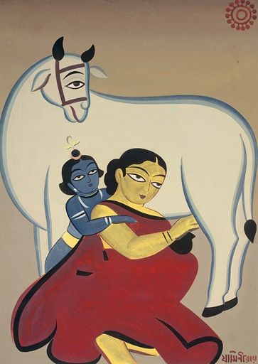 Jamini Roy - Untitled (Yashoda and Krishna)