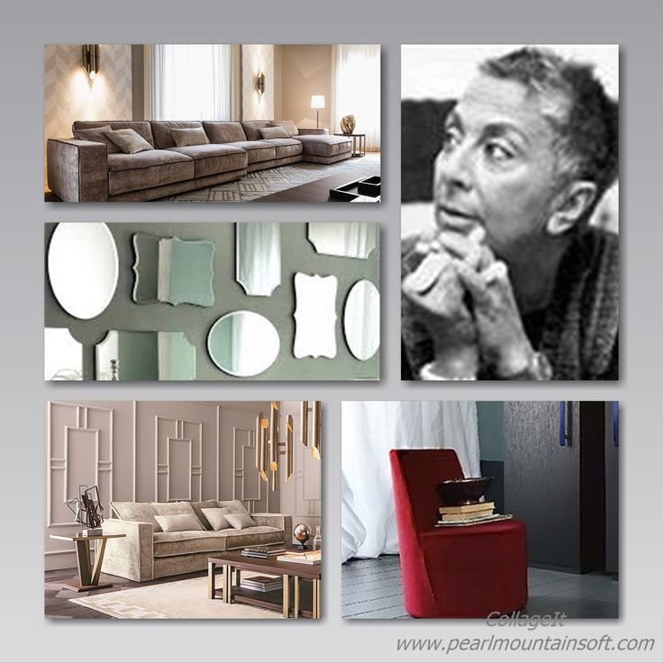 FOCUS ON: #paolanavone.  In the picture some of the items by Paola Navone for Casamilano home collection.  Clockwise: Paola Navone's portrait, Lea armchair, Pillopipe sofa, Vittoria mirrors, Suite sofa More on www.casamilanohome.com