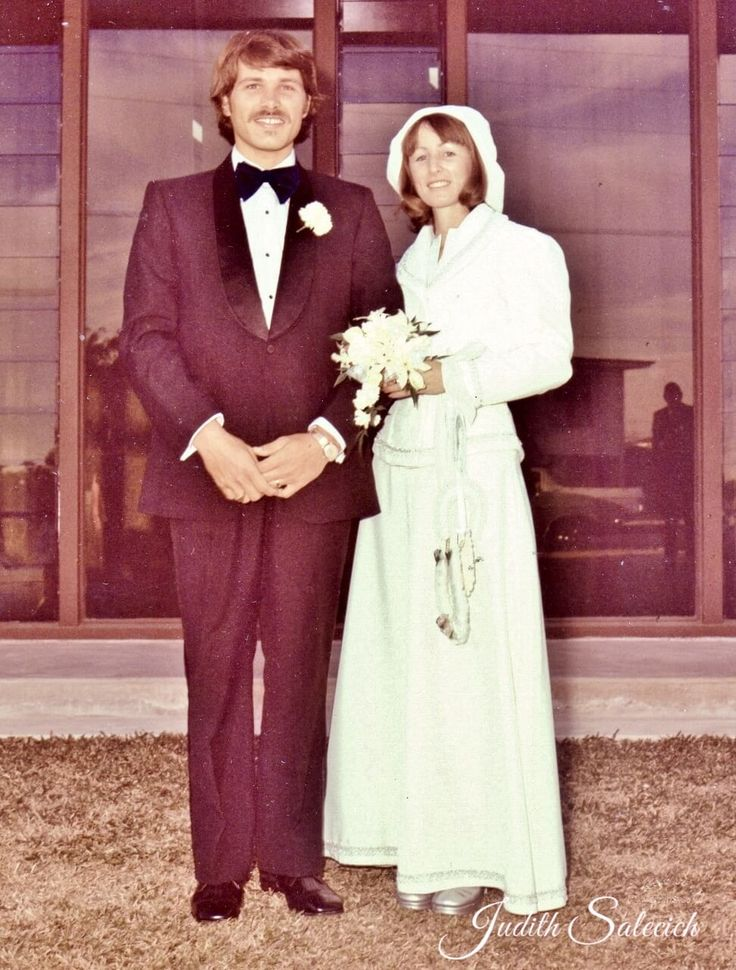"""Mid 1970s. After our wedding ceremony, posing for photographs, in """"that"""" outfit"""