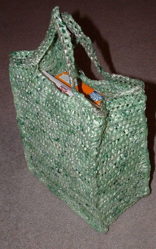 Bolsa de mercado, tejida al crochet/ganchillo con bolsas plásticas. How to: upcycle plastic Shopping Bags