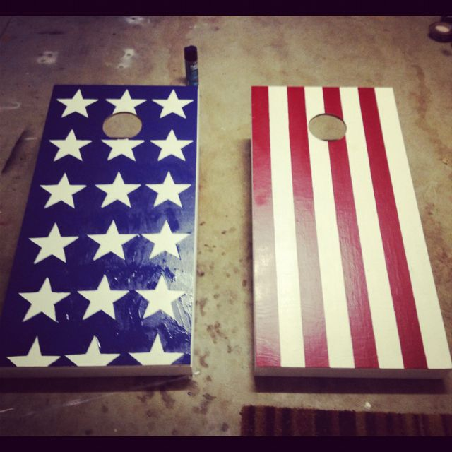 cornhole board idea stars and stripes - Cornhole Design Ideas