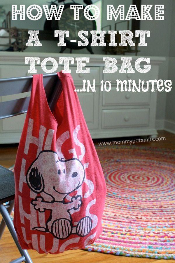 Comment confectionner un sac à partir d'un t-shirt (sans couture)                                                                                                                                                      Plus