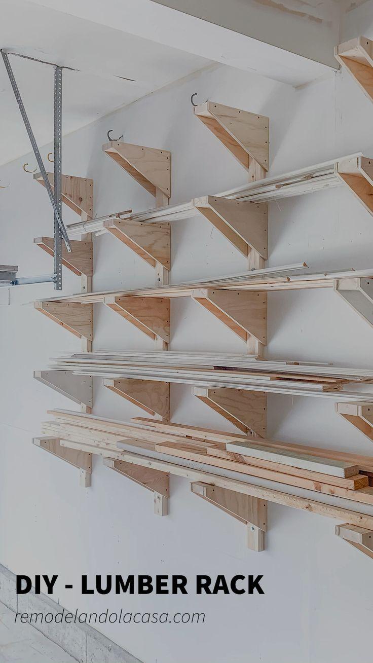 Garage Workshop Organization, Basement Workshop, Wood Workshop, Diy Garage Storage, Workshop Storage, Diy Organization, Organizing, Lumber Rack, Lumber Storage