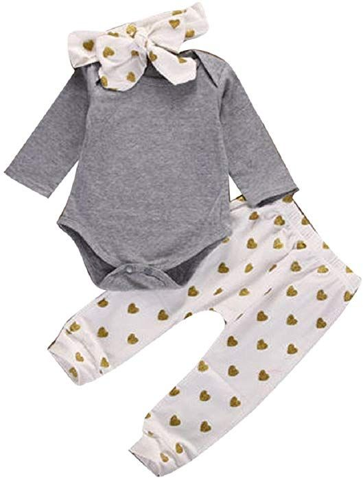 ad39e6a95 1 Set Baby Romper Tops+Long Pants+Hat Newborn Clothes Set