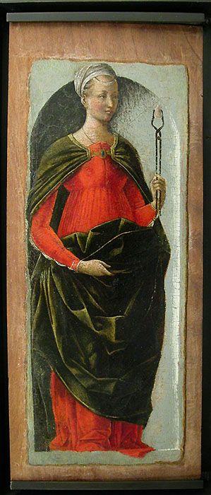 Ercole ROBERTI Ferrare, vers 1450 - (?), 1496 Sainte Apolline. Vers 1473 Saint Michel H. : 0,26 m. ; L. : 0,11 m.