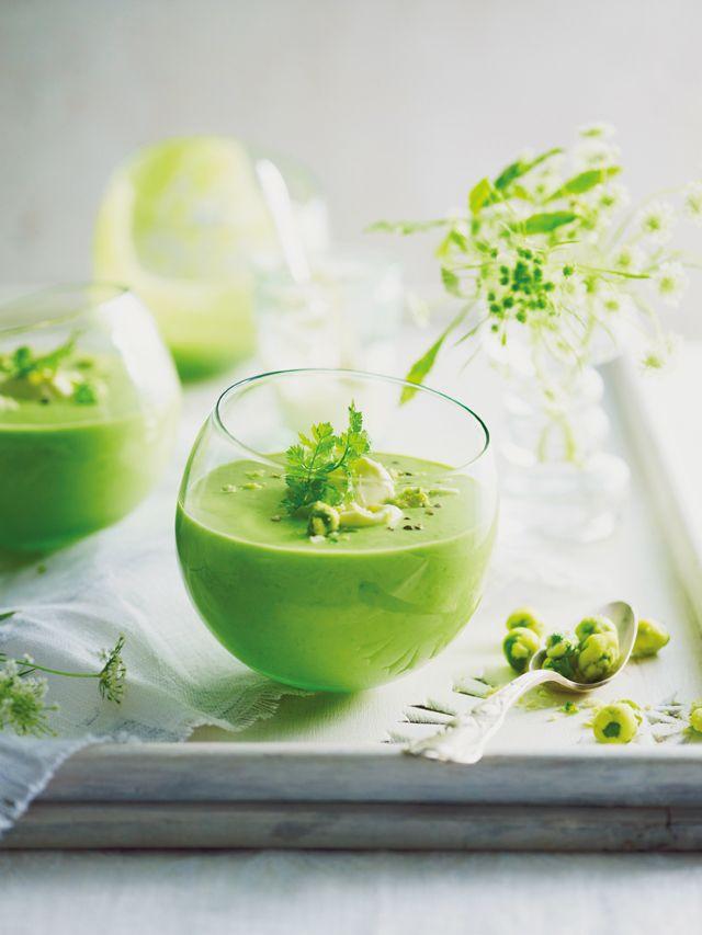 Pea soup w/ wasabi peas: