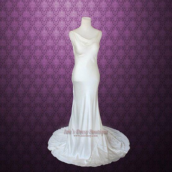 Simple Wedding Dress | Retro Hollywood Sleek Cowl Neck Low Back Silk Wedding Dress | Casual Wedding Dress | Sheath Wedding Dress | Rita by ieie on Etsy https://www.etsy.com/listing/209379232/simple-wedding-dress-retro-hollywood