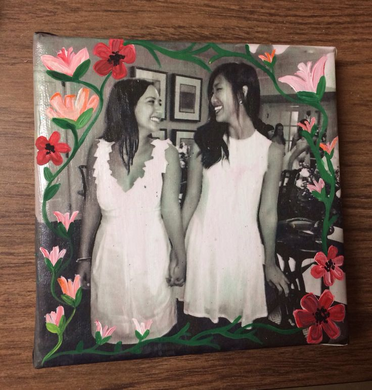 Big little kappa delta canvas, mod podged picture on canvas with painted flowers on top