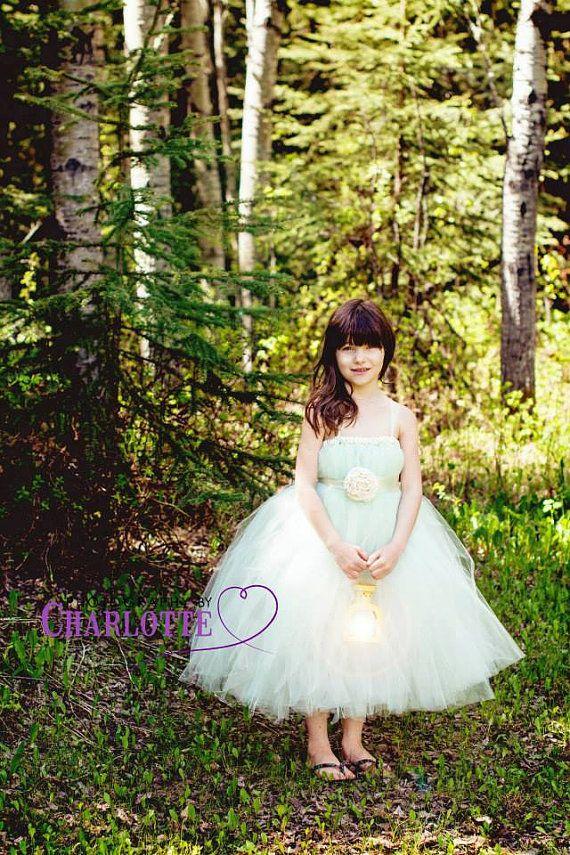 Ivory mint SEWN tutu dress with handmade flower sash by victoriastutus, $75.00
