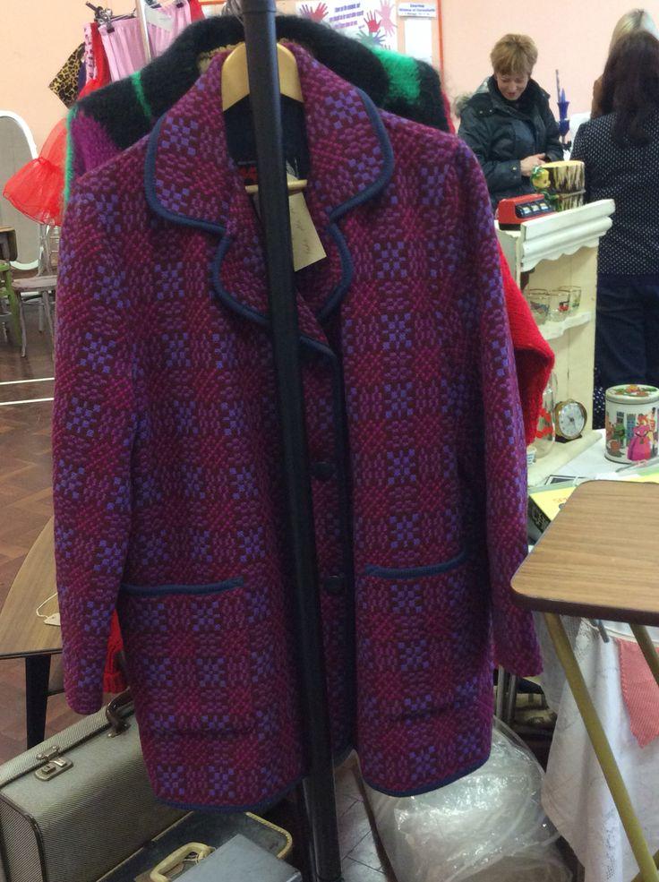 Ladies Welsh tapestry wool coat pinks & purples, size 14-16