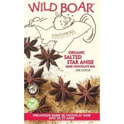 Wild Boar Dark Chocolate Salted star anise. for Black licorice lovers! Yum! single origin organic sustainable. Hagensborg Chocolates. Truffle Pigs