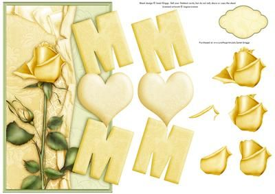 MUM LEMON ROSE Over the Side card on Craftsuprint designed by Janet Briggs - Mum card. Over the side card for Mum, Mom or Mam with step by step decoupage.Features lemon rose.Additional blank tag provided for your own sentiment. Could be used for Happy Birthday or Mother's Day. - Now available for download!