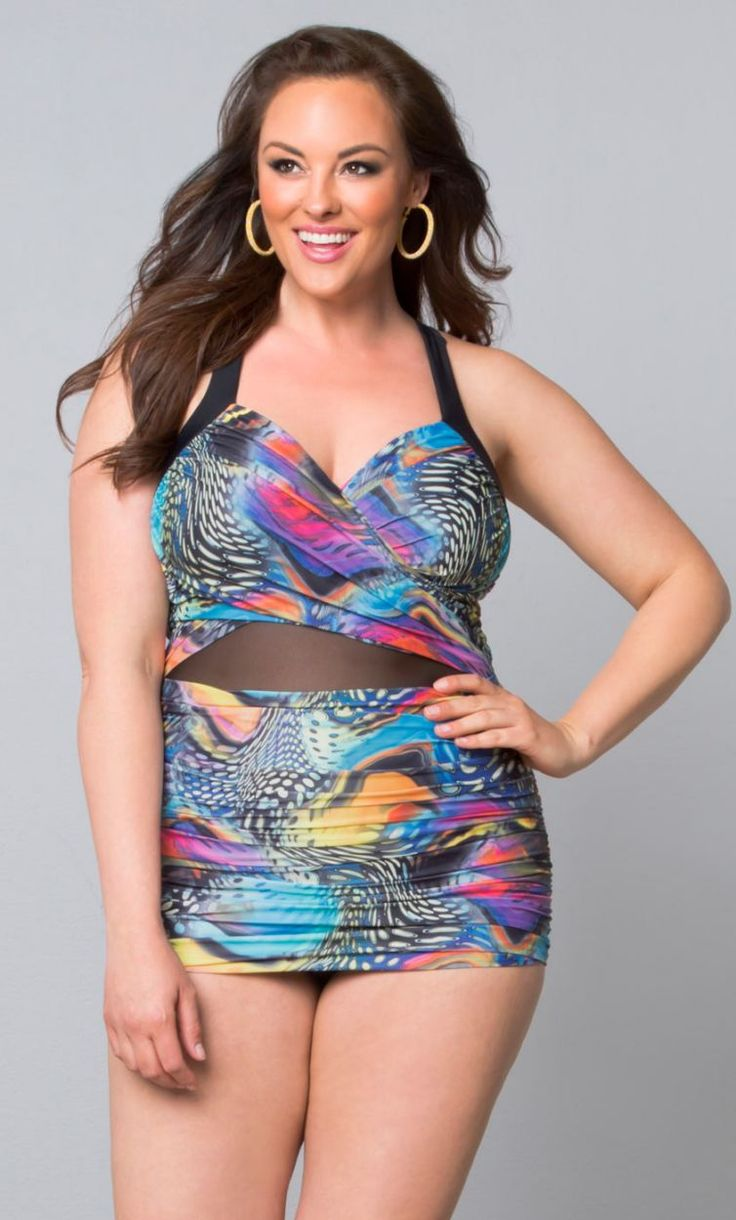 Sand and Glam Illusion Swimsuit, Spotted Butterfly Print (Womens Plus Size) From the Plus Size Fashion Community at www.VintageandCurvy.com
