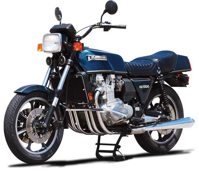 Kawasaki jumped in the 6-cylinder motorcycle game right after the Honda CBX 1000 with the biggest bruiser of the bunch, the 1,280cc, 120hp Kawasaki KZ1300. Photo and article by Doug Mitchel, Motorcycle Classics September/October 2009. Read mroe about this classic Kawasaki at motorcycleclassics.com