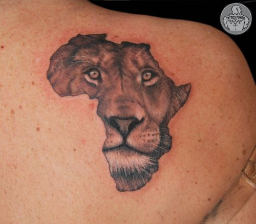 Lion inside of Africa Tattoo....could do with other places and other animals or things--if I were ever to get a world tattoo I would have each country i visit filled in by an artist in that country