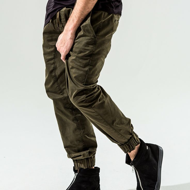 Military Olive stretch joggers. Now available Online at www.spccstore.com