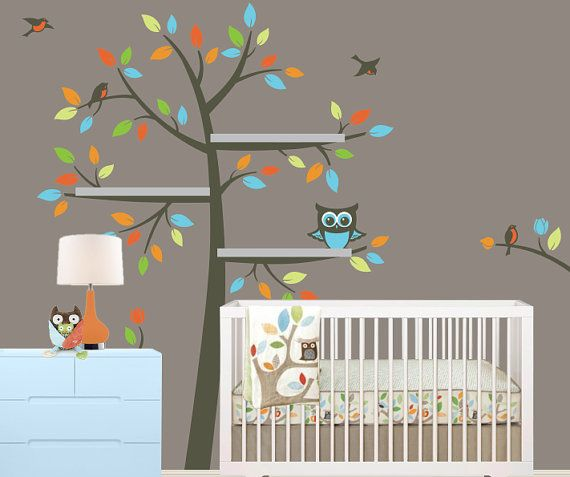 Best Shelf Tree Decal Children Wall Decal Tree Decal With Owl Owl Nursery Theme