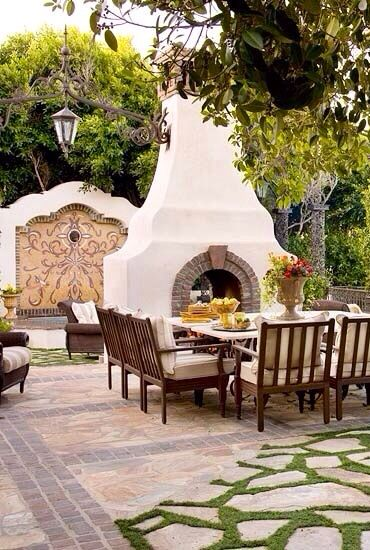17 best images about courtyard front center on for Spanish outdoor fireplace
