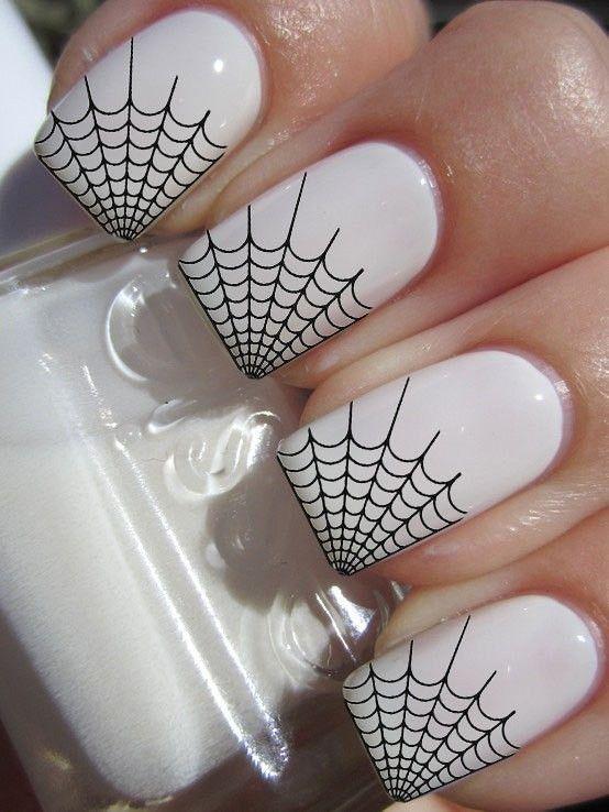 Spider web Halloween Nail Art Designs