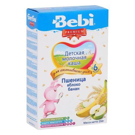 Bebi Каша Премиум пшеница/яблоко/банан молочная ,с 6 мес.  — 179р.  Эта каша, содержащая специально подобранный микс из пшеницы и фруктов, отлично разнообразит меню малыша.  Рекомендован для детского питания с 6 месяцев.  Этот и другие товары Вы можете приобрести в интернет-магазине Kideria по привлекательным ценам и с удобными условиями доставки. Удачных покупок с Kideria.ru!