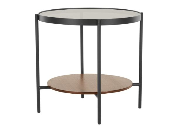 Kameko Round Side Table Walnut And Glass Side Table Round