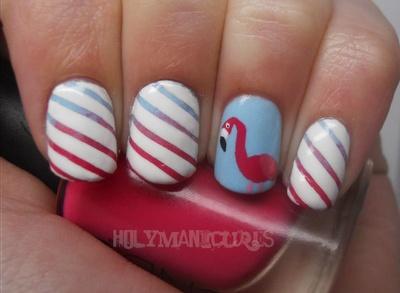Striped Flamingo Nails