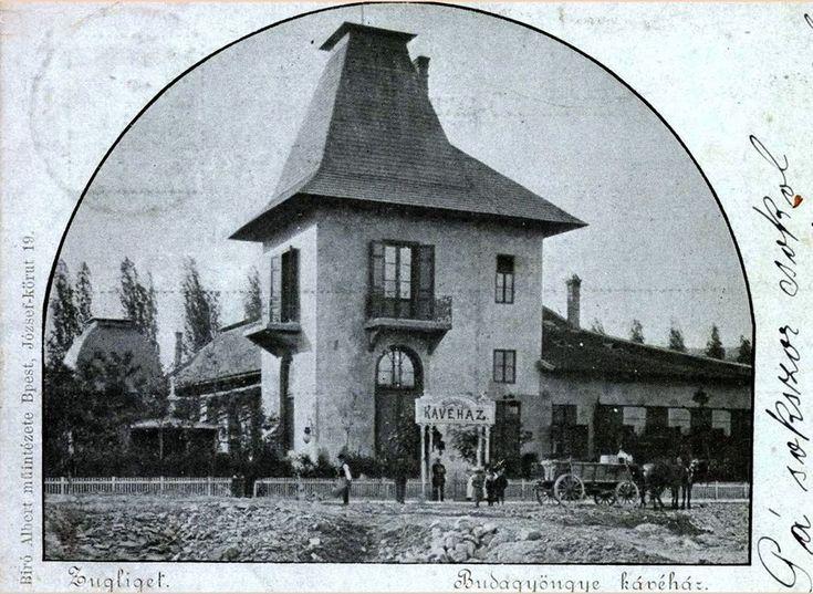 1900 körül. Budagyöngye kávéház, - jobbra a Pázsit u. fut a Pasaréti út felé.