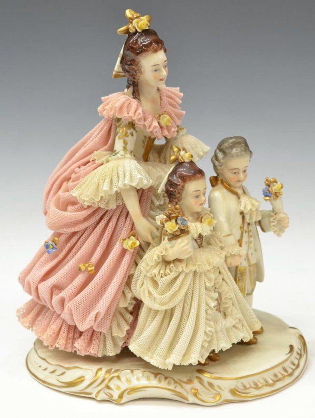 (2) DRESDEN LACE STYLE PORCELAIN FIGURAL GROUPS : Lot 1083: