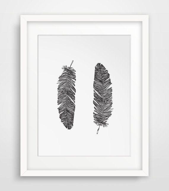 Wall Decor, Printable Art, Digital Prints, Bohemian Wall Decor, Feather Prints, Feather Decor, Printables, Shabby Chic, Gift Idea