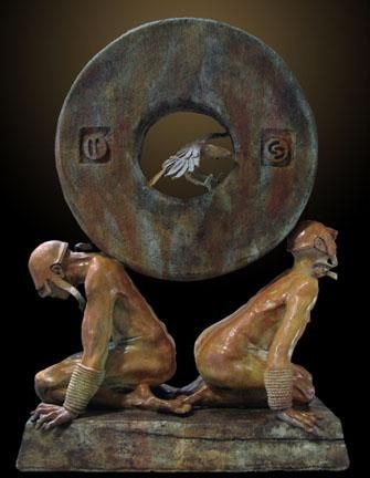 """The Stone of Relationship"" by Renzo Bronze Sculpture Edition Size: 55 SN Size: 40""h x 29""w x 17.5""d"