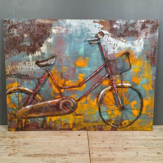 Χειροποίητος Πίνακας Ζωγραφικής Ποδήλατο Λαμαρίνα http://nedashop.gr/Spiti-Diakosmhsh/diakosmhtika-toixoy/xeriopoihtos-pinakas-zografikh-podhlato-lamarina