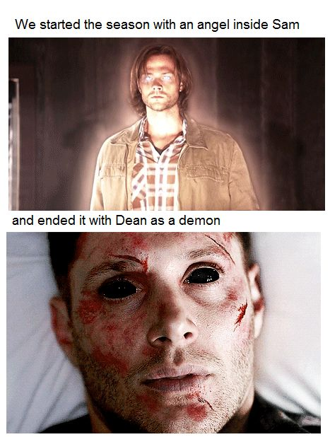 The boy with the demon blood as an angel and the righteous man as a demon, this is why I cry