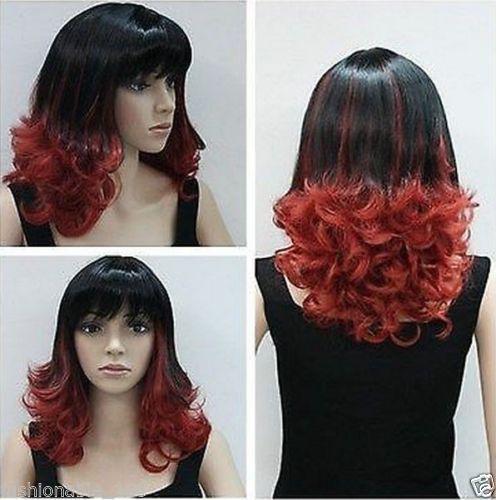 Экспресс-доставка в США прекрасный Короткие вьющиеся черные смешанный рыжие волосы синтетического волокна полный парик s0498