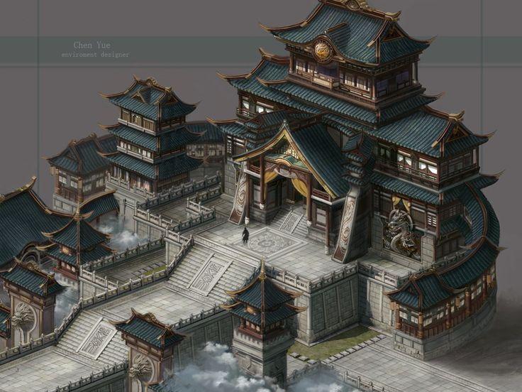 Monastery Asian Faction ArtStation - Practice of wind China building , yue chen