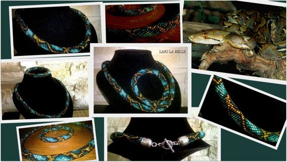 Azure python seed bead crochet elegant set choker от LariLaBelle