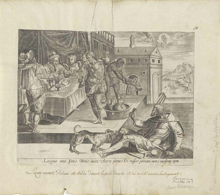 Anonymous | Gelijkenis van de rijke man en de arme Lazarus, Anonymous, Gerard de Jode, 1585 | Een rijke man zit met zijn familie en gasten aan tafel. Rechts buiten het huis bedelt de bedelaar Lazarus, wiens zweren door een hond worden gelikt. Op de achtergrond wordt het vervolg van het verhaal verbeeld. Als de rijke man en Lazarus zijn gestorven, zit Lazarus in de hemel bij Abraham op schoot. De rijke man bevindt zich in de vlammen van de hel. Onder de voorstelling een verwijzing in het…