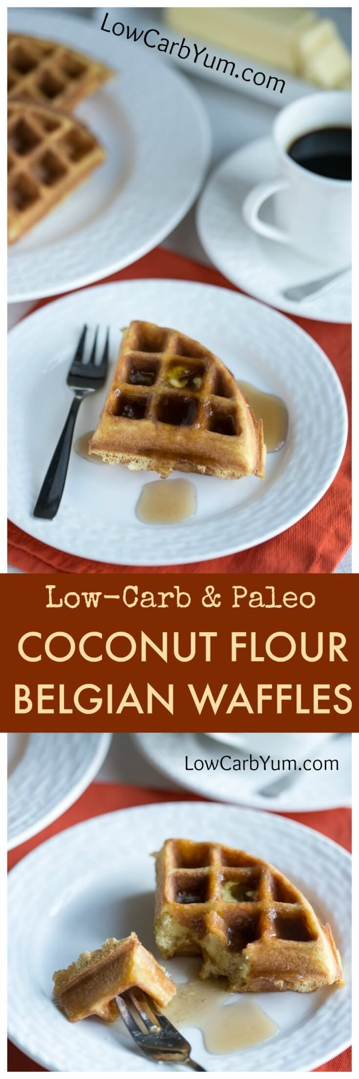 Scrumptious low carb paleo coconut flour waffles are easy to make. Just mix up the ingredients in a blender then pour in a Belgian waffle maker. | LowCarbYum.com