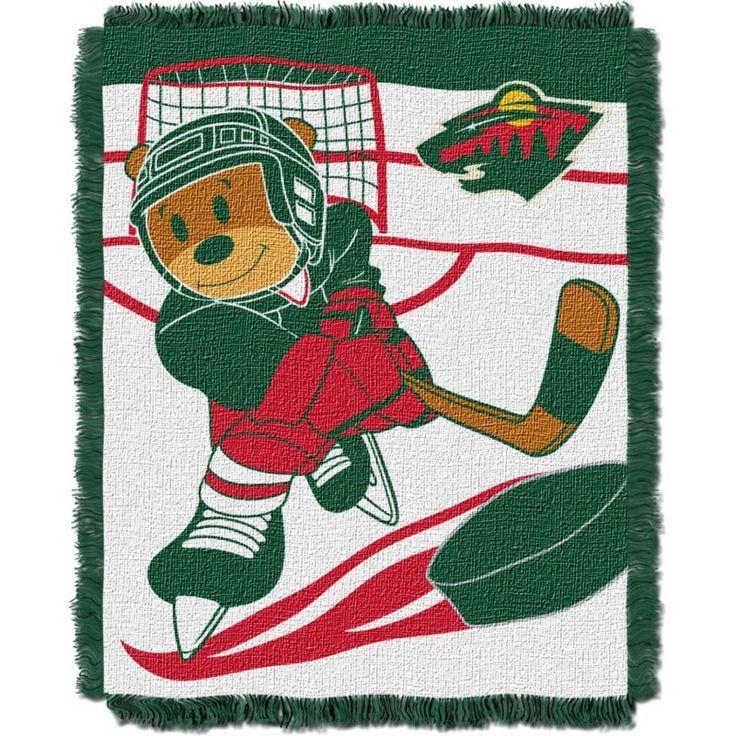 Northwest Minnesota Wild Score Baby 36 in x 46 in Jacquard Woven Throw Blanket, Team