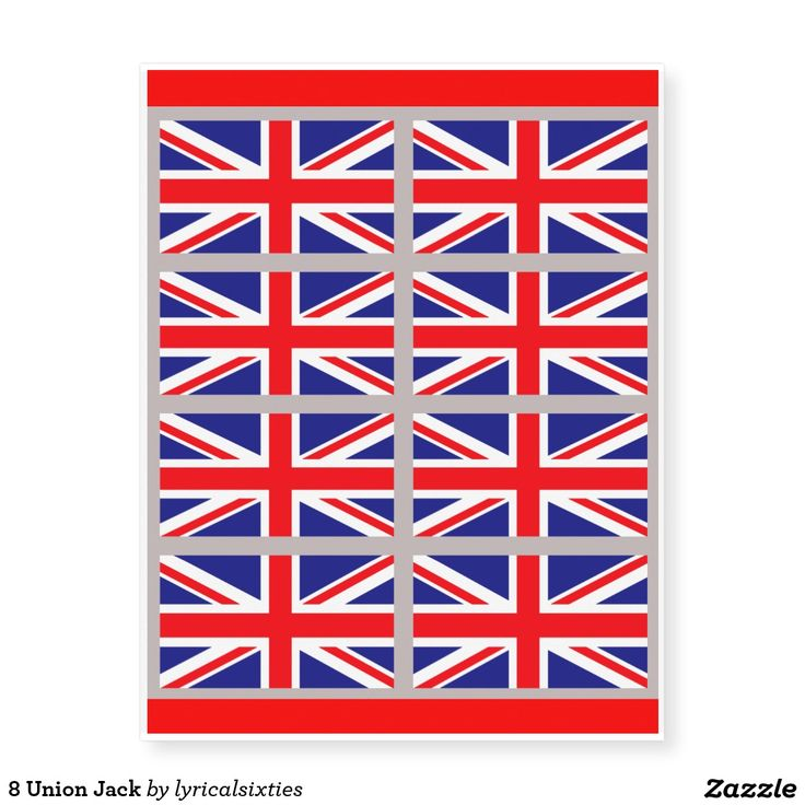 A sheet of 8 Union Jack tattoos, each tattoo is the red, white and blue Union Jack of the United Kingdom, and is apx 4 ins wide