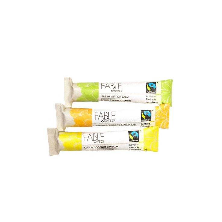 Fable Naturals' yummy chapsticks! Flavours include...vanilla orange, lemon coconut and fresh mint.  Plus they come in compostable tubes!