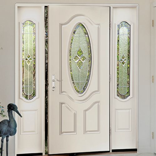 The Therma-Tru Smooth Star 3/4 Deluxe Oval Lite 2 Panel Door comes in a variety of glass options to fit any home, and is also energy efficient with a polyurethane foam core that provides up to five times of the insulation value of wood.