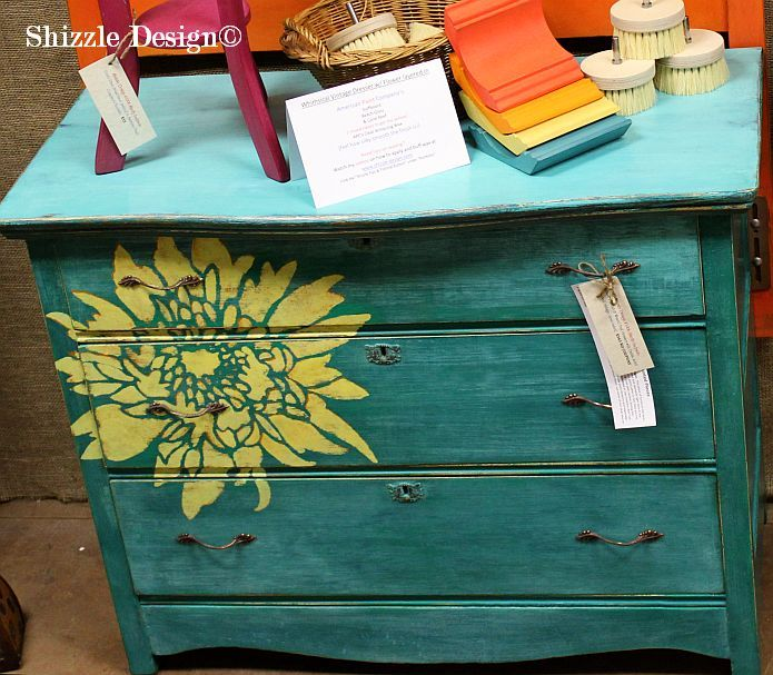 antique-dresser-Shizzle-Design-American-Paint-Companys-chalk-clay-mineral-paint-Surfboard-Coral-Reef-Beach-Glass-turquoise-yellow-vintage-shabby-holand-michigan.jpg 695×607 pixels