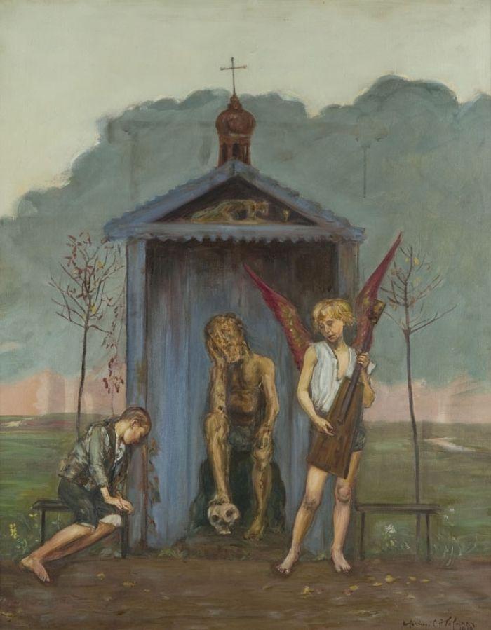 Wlastimil Hofman - Przy kapliczce przydrożnej, 1918 r.