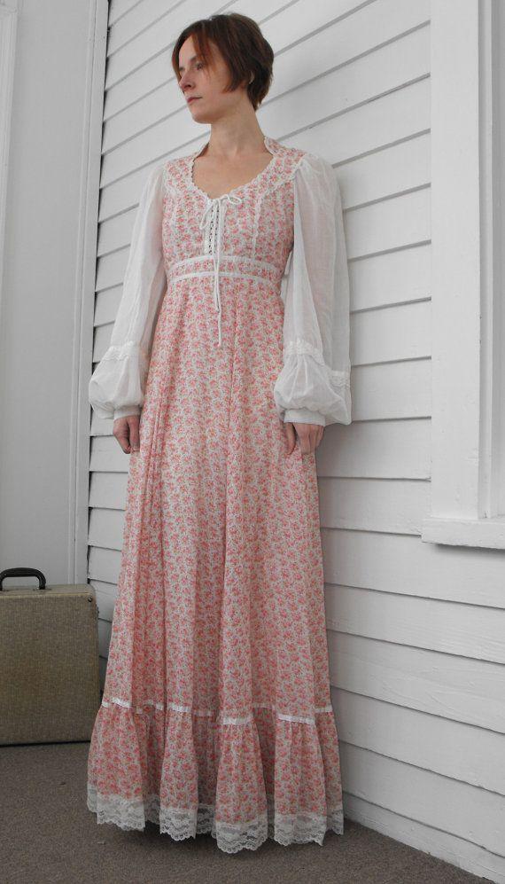 Vintage 70s Gunne Sax Dress Corset Prairie Floral by soulrust