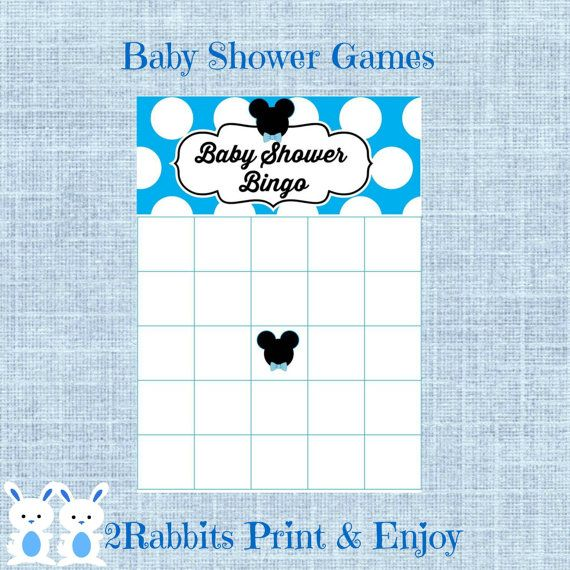 Mickey Mouse Baby Shower Bingo Blank Cards - Mickey Mouse Bingo Gift Baby Shower- Printable Disney Baby Shower Game- Instant Download #disneybabygiftbingo #babyshowergames