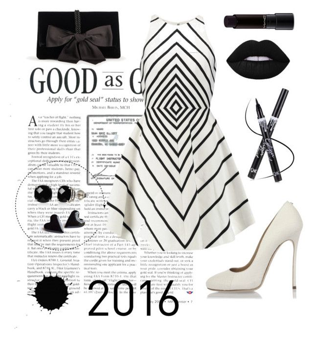 """Black & White"" by siggan22 on Polyvore featuring Belk & Co., Halston Heritage, Dsquared2, Ann Taylor and MAC Cosmetics"