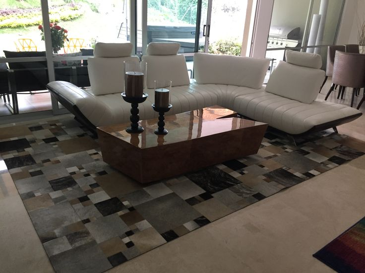 Tapete a cuadros - Rug  Checkered Patchwork leather rug Cuero
